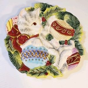 Vintage Fitz and Floyd Kristmas Kitty 3D Plate